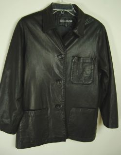 Luis Alvear Womens Black Leather Jacket Coat Blazer Soft Lined 3