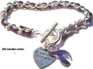 Cystic Fibrosis/Lupus//Colitis purple ribbon heart charm toggle