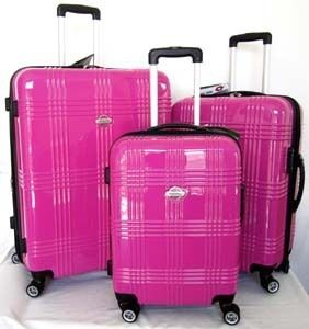 3pc Luggage Set Hard Rolling 4 Wheels Spinner Pink TSA