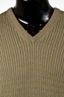 B2 Sz XL Lyle Scott Mens Green Combed Cotton Cable Knit Sweater Vest