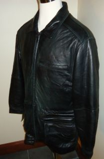 MENS M KENNETH COLE REACTION BLACK LEATHER COAT JACKET W/ ZIP OUT