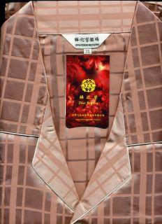 New Mens Satin Long Sleeve Pajamas Rust Plaid s M L