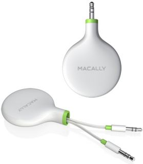 Macally 3 5mm Retractable Audio Stereo Cable 5 Aux for iPhone iPod