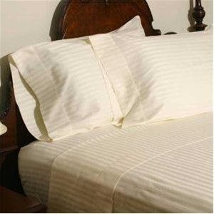 LUXURIOUS HOTEL  1000TC 100% EGYPTIAN COTTON QUEEN IVORY STRIPE SHEET