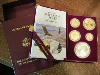 1995 W PROOF GOLD EAGLE 5 COIN ANNIVERSARY SET WITH SILVER EAGLE WEST