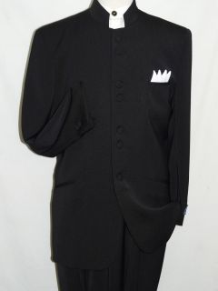 Chinese Style Banded Collar Suit Black Color Sizes 36S 38S 40s 42S 44S