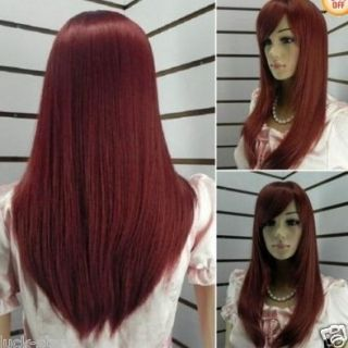Burgundy Red Long Straight Human Made Hair Full Wig 2