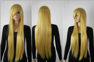 80cm Golden Straight Cosplay Full Wig Human Made wigs