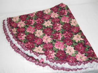 Hand Made Fabric Poinsettia Design Christmas Tree Skirt