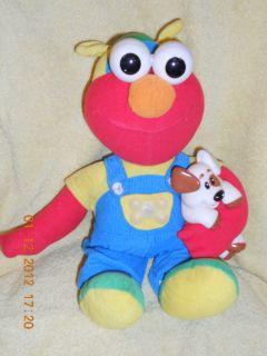 Sesame Street Magic Lights Elmo Tyco 1997 16 Plush Holding Dog Lights