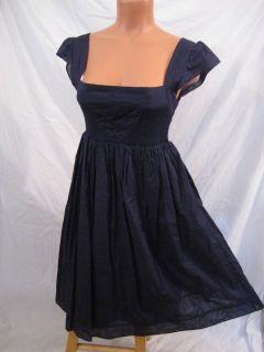 MAEVE Anthropologie SUPREME GRACE DRESS 6 S cotton INK BLUE boho
