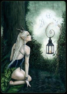 Fantasy Art ACEO Print Forest Moths Magic Trees Green