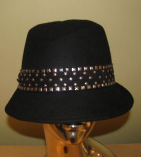 Magid Ladies Womans Black Wool Felt Fedora Hat w Studded Band