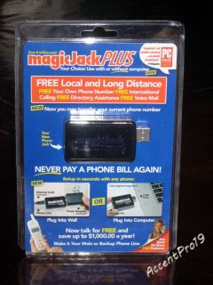 Magic jack Plus USB Phone Jack unused unopen with 1 year free