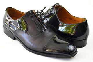 Magnanni Black Leather Patent Leather Dress Shoes 10 5