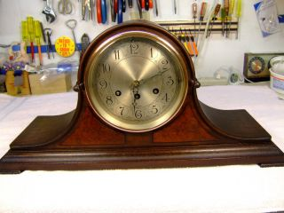 Herschede Antique Mahogany Westminster Chime Mantle Clock