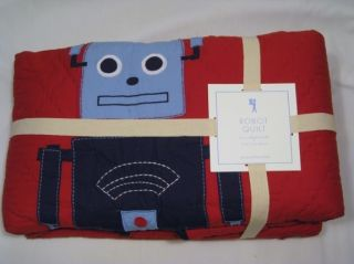 Pottery Barn Kids Robot Full Queen Quilt 2 o Shams New
