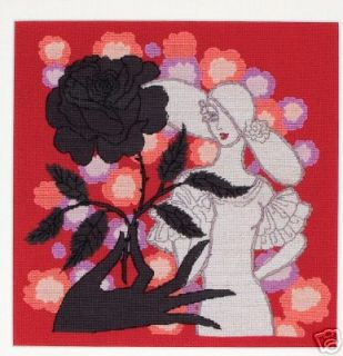 Maia Counted Cross Stitch Kit Black Rose by Erte