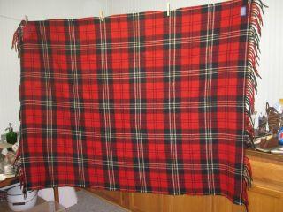 Vintage Pendleton 100 Wool Blanket Red Black Plaid Cabin Lodge Cottage