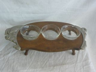 BARBECUE SAUCE CONDIMENT TRAY WOOD MID CENTURY MODERN BOWL BBQ retro