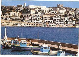 Vintage Postcard 1987 Xemxija St Pauls Bay Malta Stamp