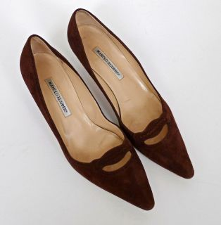 Manolo Blahnik Brown Suede Heels with Cut Out and Perforated Details