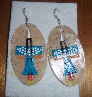 Beatuiful LAKOTA Sioux Hand Made Rawhide Earrings