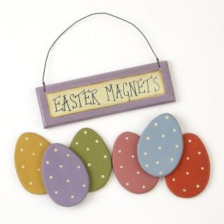 Primitive Wooden Easter Egg Magnets Set of 6