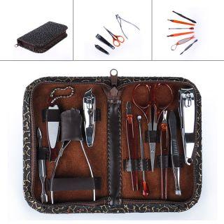 Manicure Set 10pc in 1 Nail Clipper Earpick Grooming Pedicure kit Man