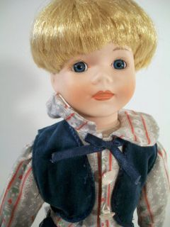 1992 Seymour Mann Porcelain Boy Doll 15 Stand Included