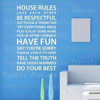 Respect Have Fun Sorry Manners Quote Vinyl Wall Decal Sticker
