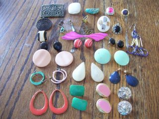Small Lot Early 80s Costume Jewelry Earrings