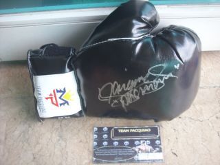 Manny Pacman Pacquiao MP Black Right Boxing Glove Auto Signed