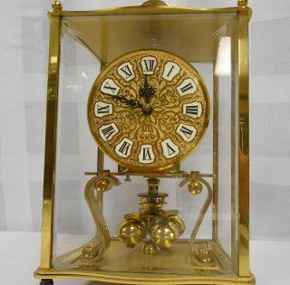 Kieninger Obergfell Anniversary Carriage Mantell Brass Glass Vtg Clock
