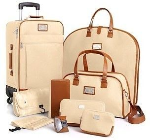 Joy Mangano St Barts Canvas Chic Collection 10 Piece Luggage Set Cream