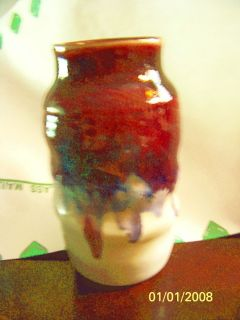 Mangum Pottery Signed 7x4 Glazed Flower Vase in Red Blue Purple on