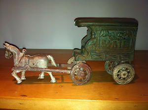 Original Cast Iron Horse on Wheels and U s Mail 128 Cart