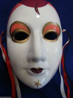 Ceramic Face Mask Mardi Gras Cameo Girl Wall Decor