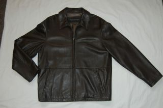 Marc New York Brown Leather Mens Jacket Size M