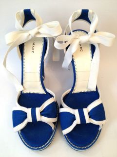 Marc by Marc Jacobs Blue Canvas Bow Wedge Sandals 36 6 5