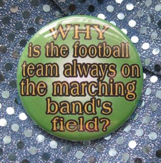 Football Team on Marching Band Field Badge Button Pin