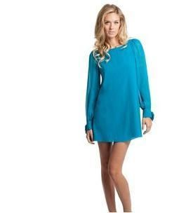 NWT 158 MARCIANO GUESS Rochelle Shift Dress Silk Chiffon Tunic BLUE sz