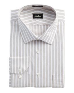 Trim Fit Striped Dress Shirt Brown White