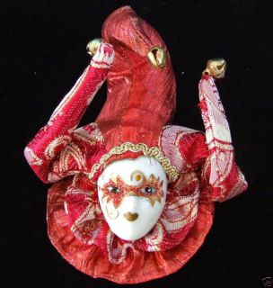 Porcelain Jester Face Mardi Gras Ornament Lady in Red