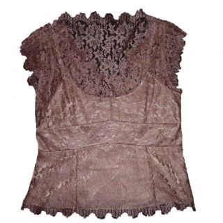 Ann Taylor Lace Top Blouse Shirt Woman Rose Gold Metallic Size 12