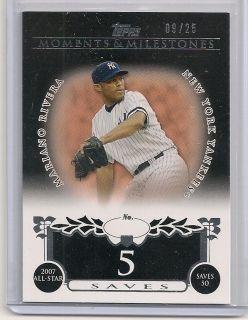 Mariano Rivera 2008 Topps Milestones Serial Ed 9 25 NY Yankees