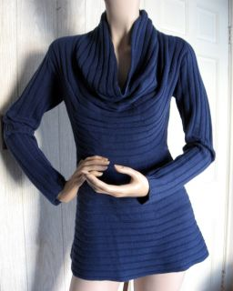 Bruno Manetti Navy Blue Cowl Neck Knit Stripe Sweater 44 10