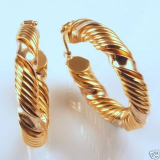 18K Gold Twisted Hoop Earrings Yellow White Gold