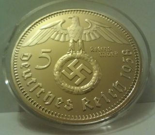 Germany 5 Mark 1938 Nazi 24K Gold Plated Swastika German Restrike Coin