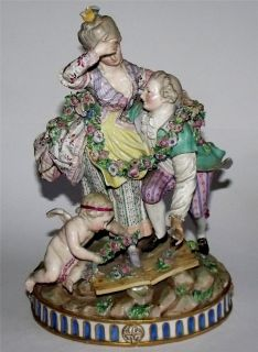 Cherub Figure Blue Crossed Mark N and Scribed Mark Poss Meissen